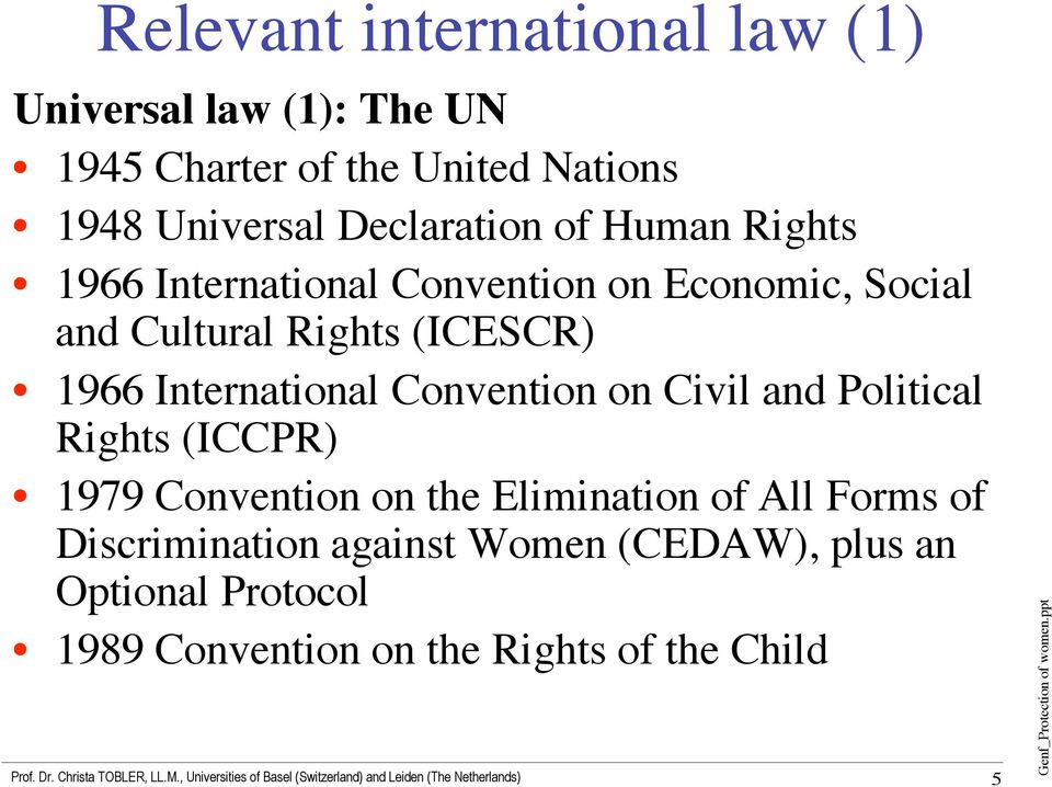 1966 International Convention on Civil and Political Rights (ICCPR) 1979 Convention on the Elimination of All