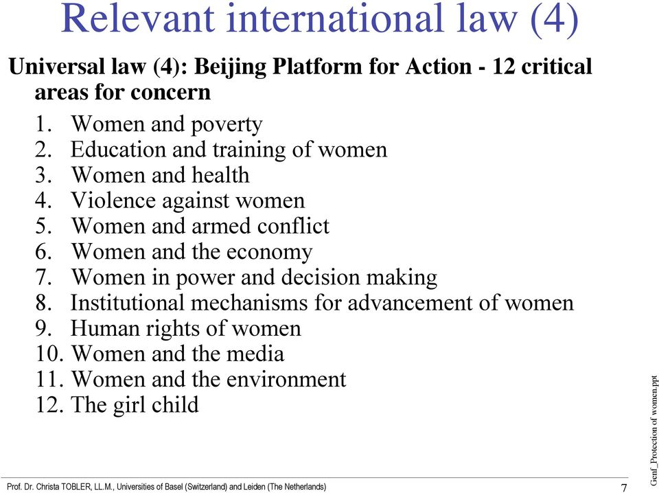 Women and armed conflict 6. Women and the economy 7. Women in power and decision making 8.