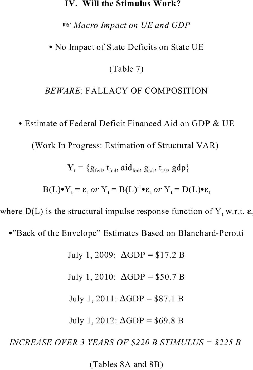 (Work In Progress: Estimation of Structural VAR) Y t = {g fed, t fed, aid fed, g s/, t s/, gdp} B(L) Y t = t or Y t = B(L) -1 t or Y t = D(L) t where D(L) is