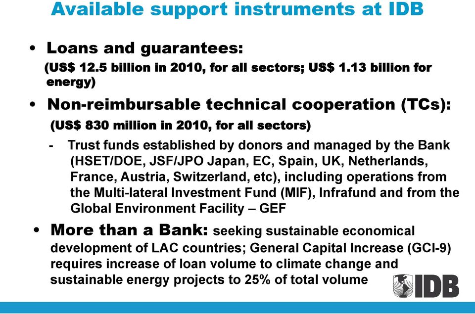 (HSET/DOE, JSF/JPO Japan, EC, Spain, UK, Netherlands, France, Austria, Switzerland, etc), including operations from the Multi-lateral Investment Fund (MIF), Infrafund and from