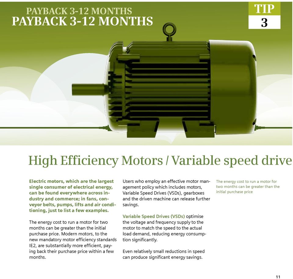The energy cost to run a motor for two months can be greater than the initial purchase price.