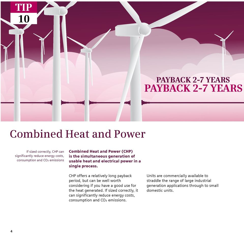 CHP offers a relatively long payback period, but can be well worth considering if you have a good use for the heat generated.