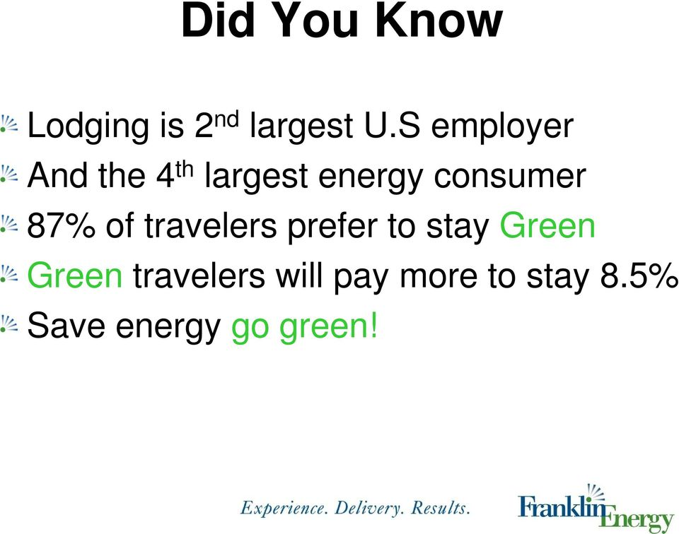 87% of travelers prefer to stay Green Green