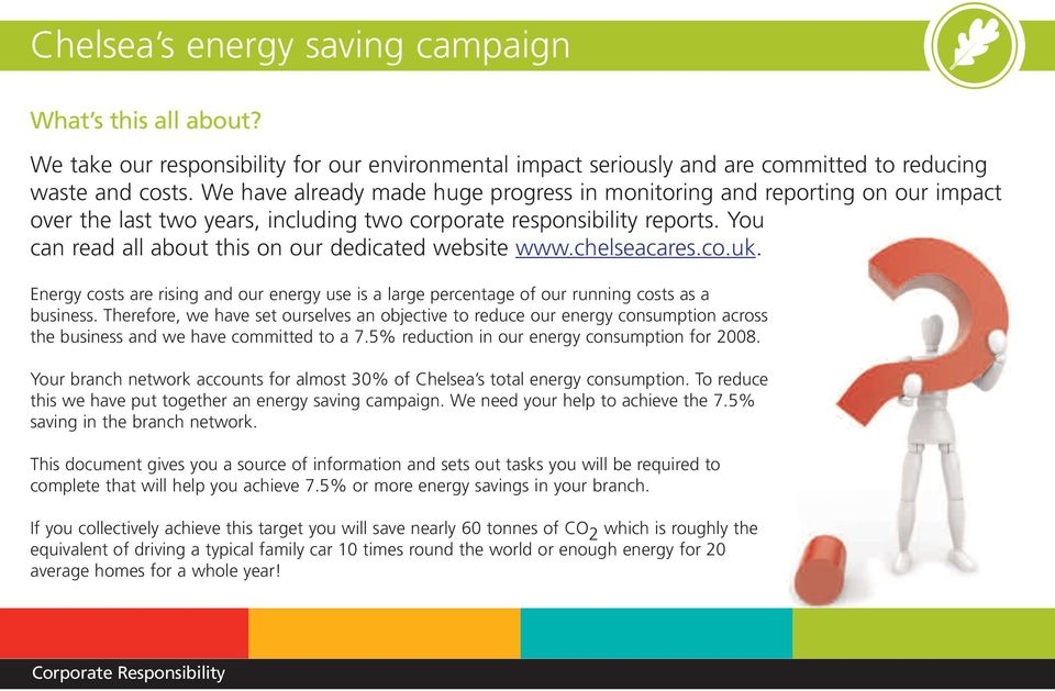 You can read all about this on our dedicated website www.chelseacares.co.uk. Energy costs are rising and our energy use is a large percentage of our running costs as a business.