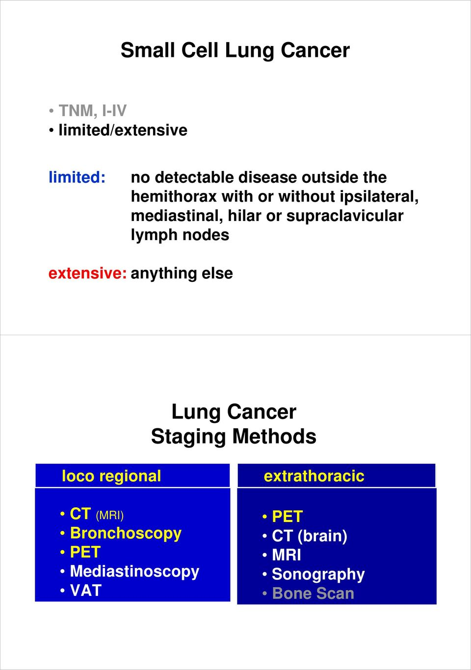 supraclavicular lymph nodes extensive: anything else Lung Cancer Staging Methods loco