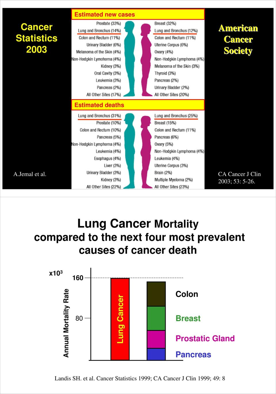 Lung Cancer Mortality compared to the next four most prevalent causes of cancer death x10 3