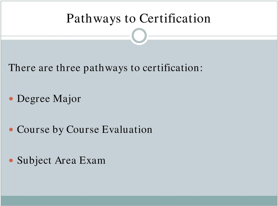 certification: Degree Major