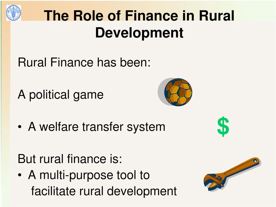 welfare transfer system $ But rural finance