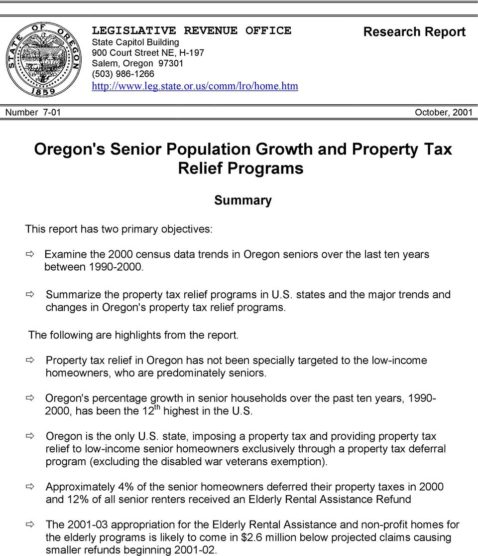 Oregon seniors over the last ten years between 1990-2000. Summarize the property tax relief programs in U.S. states and the major trends and changes in Oregon's property tax relief programs.