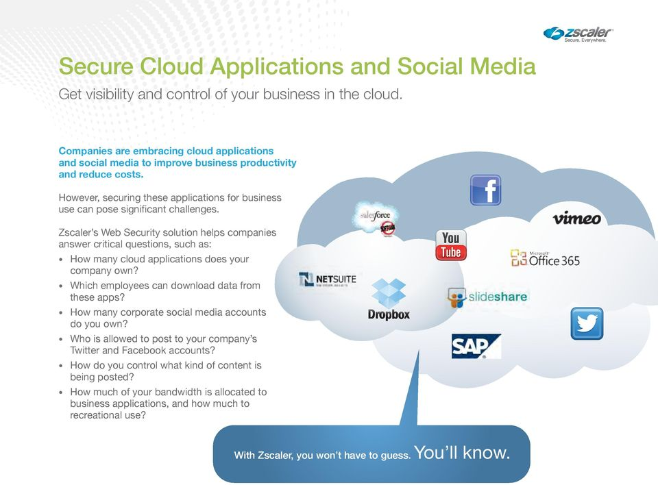 Zscaler s Web Security solution helps companies answer critical questions, such as: How many cloud applications does your company own? Which employees can download data from these apps?