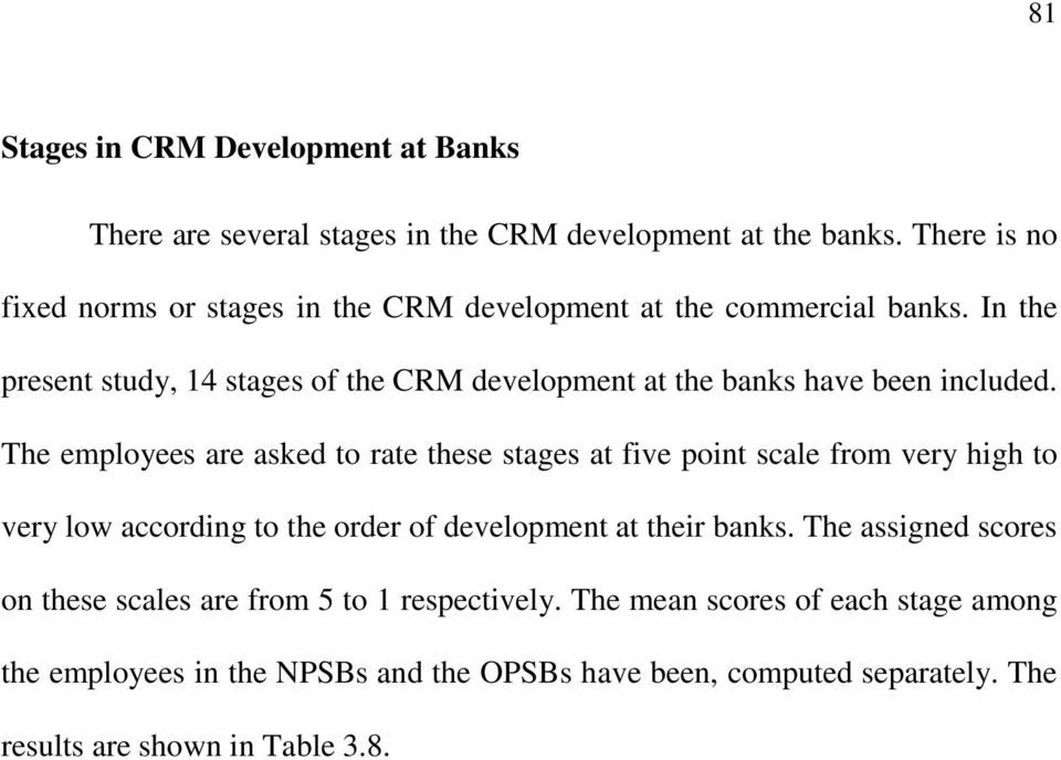 In the present study, 14 stages of the CRM development at the banks have been included.