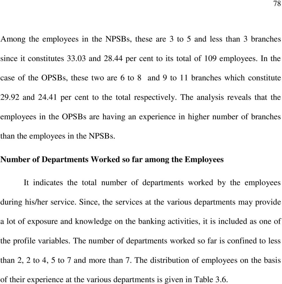 The analysis reveals that the employees in the OPSBs are having an experience in higher number of branches than the employees in the NPSBs.