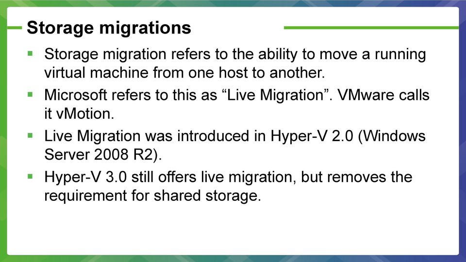 VMware calls it vmotion. Live Migration was introduced in Hyper-V 2.