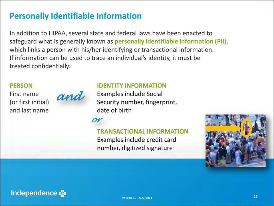 If information can be used to trace an individual s identity, it must be treated confidentially.