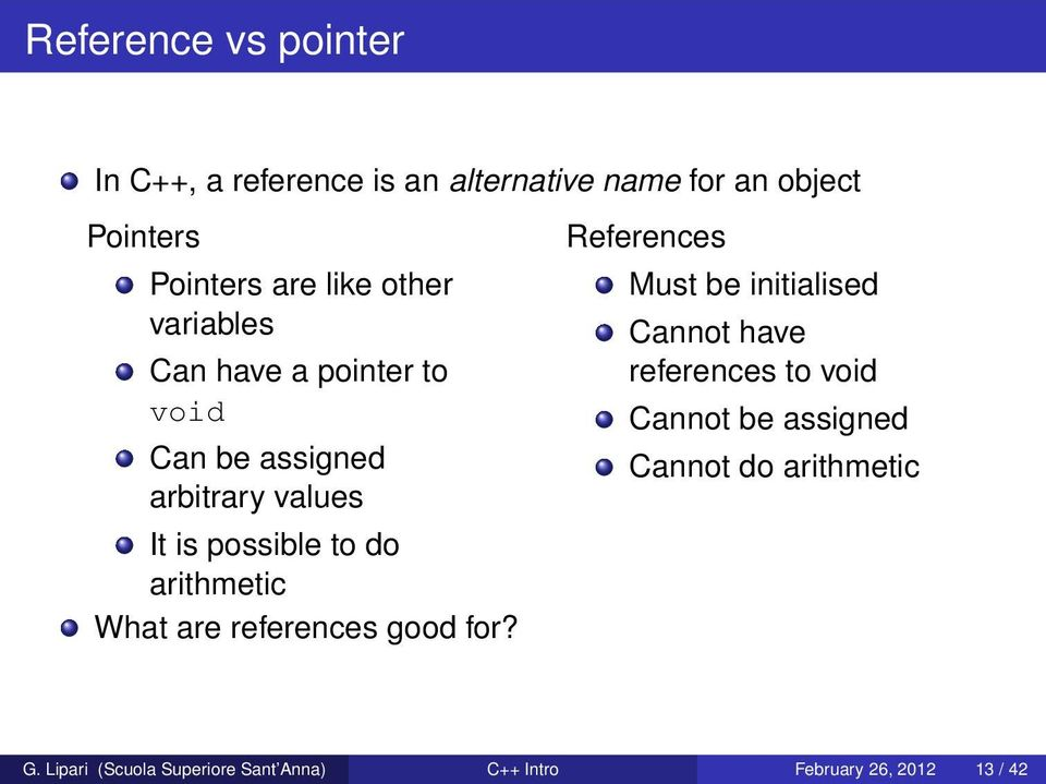 arithmetic What are references good for?