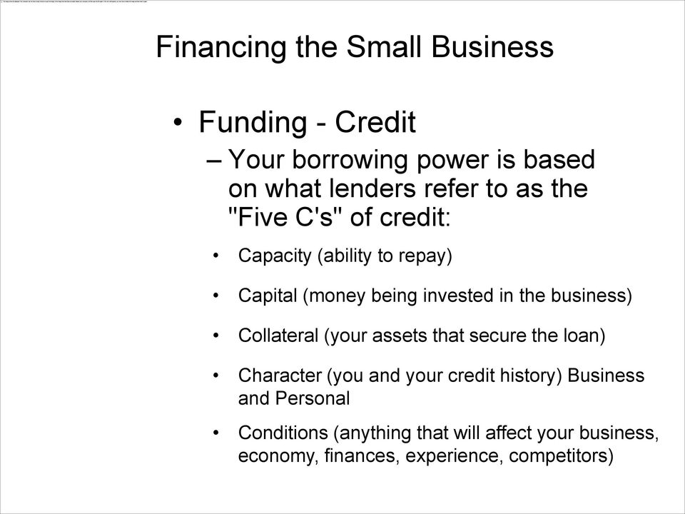 (your assets that secure the loan) Character (you and your credit history) Business and