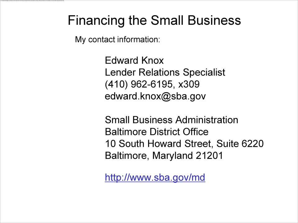 gov Small Business Administration Baltimore District Office