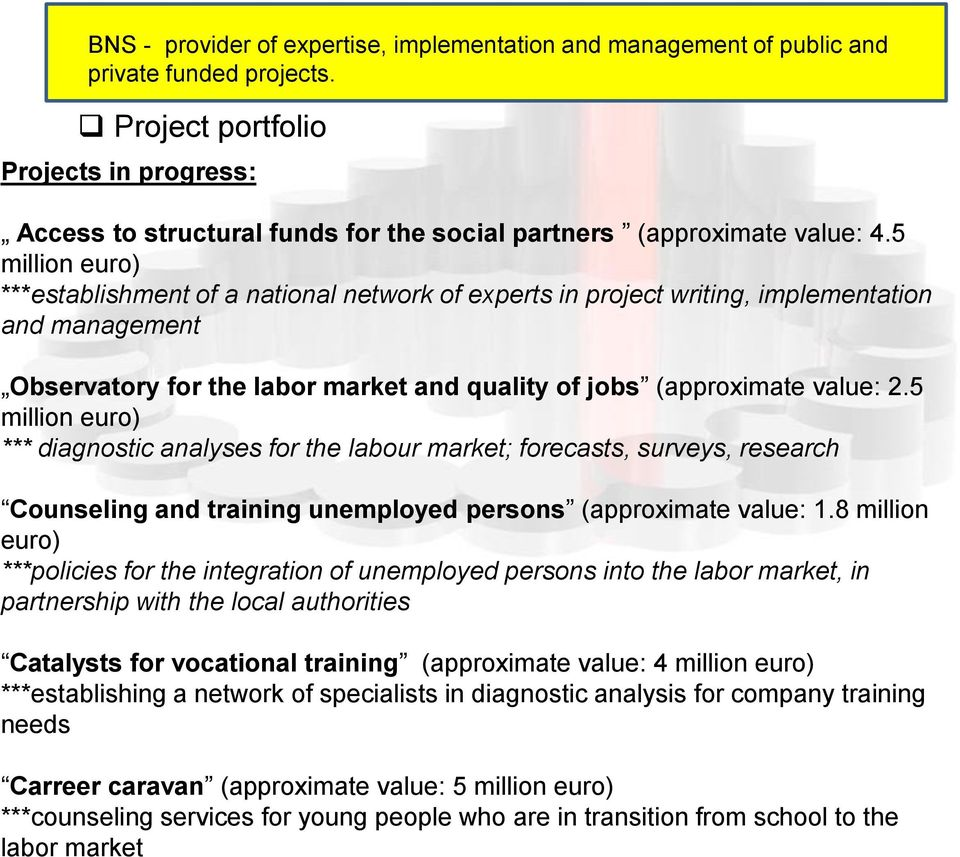 5 million euro) ***establishment of a national network of experts in project writing, implementation and management Observatory for the labor market and quality of jobs (approximate value: 2.