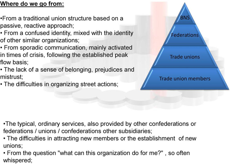 organizing street actions; BNS Federations Trade unions Trade union members The typical, ordinary services, also provided by other confederations or federations / unions /