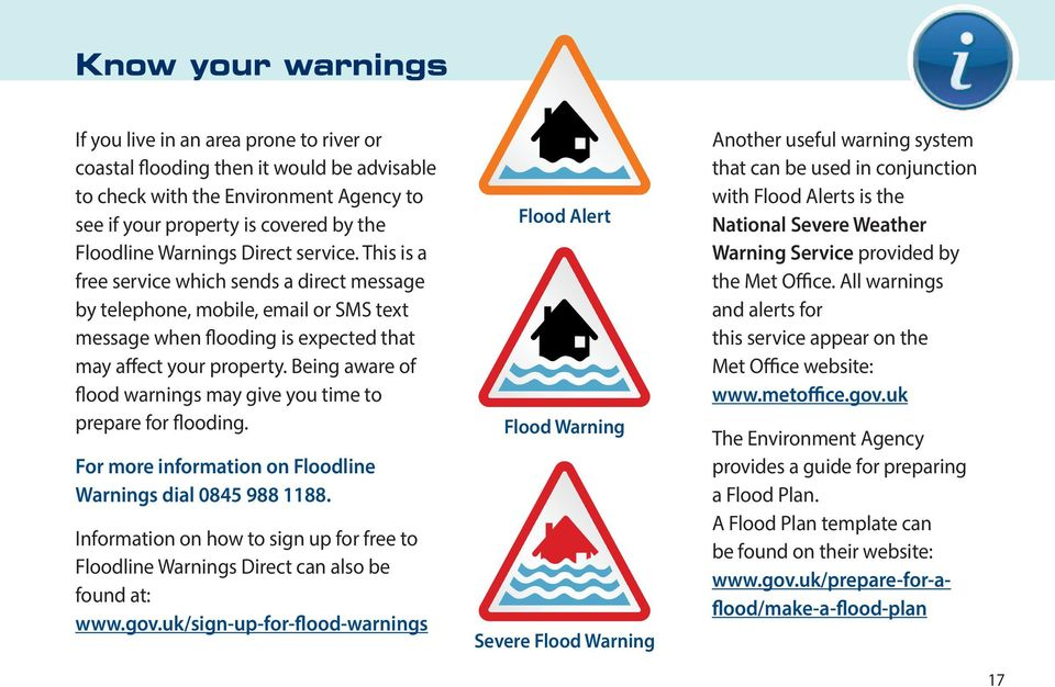 Being aware of flood warnings may give you time to prepare for flooding. For more information on Floodline Warnings dial 0845 988 1188.
