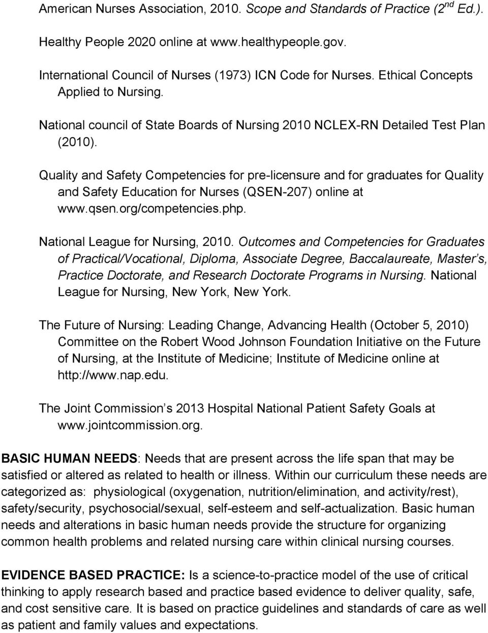 Quality and Safety Competencies for pre-licensure and for graduates for Quality and Safety Education for Nurses (QSEN-207) online at www.qsen.org/competencies.php. National League for Nursing, 2010.