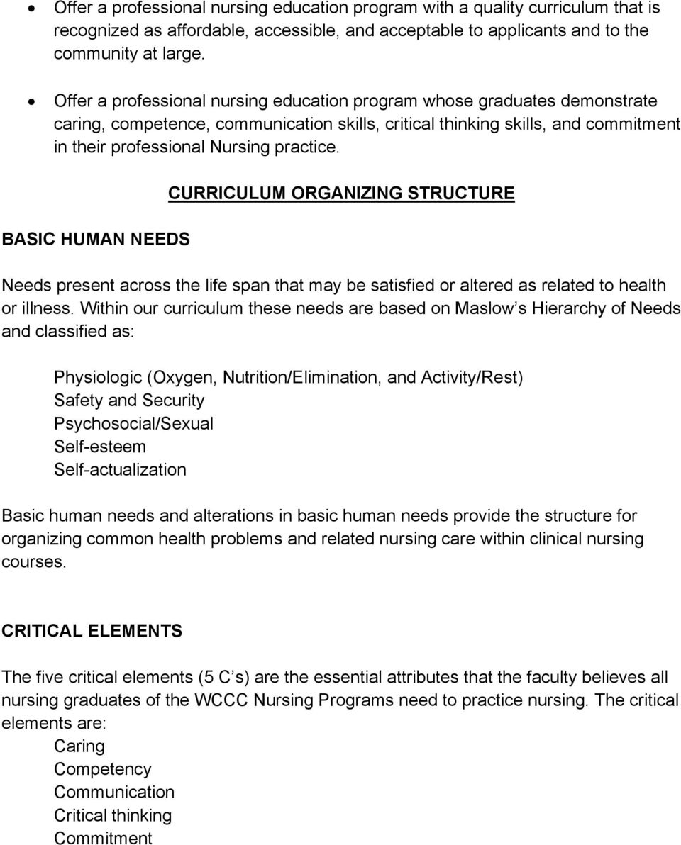 BASIC HUMAN NEEDS CURRICULUM ORGANIZING STRUCTURE Needs present across the life span that may be satisfied or altered as related to health or illness.