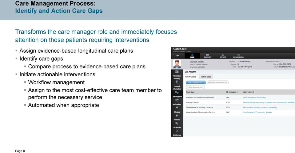 gaps Compare process to evidence-based care plans Initiate actionable interventions Workflow management Assign