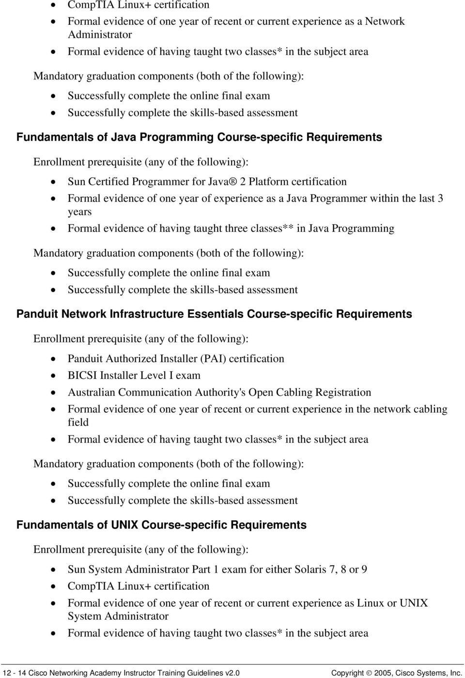 Requirements Enrollment prerequisite (any of the following): Sun Certified Programmer for Java 2 Platform certification Formal evidence of one year of experience as a Java Programmer within the last