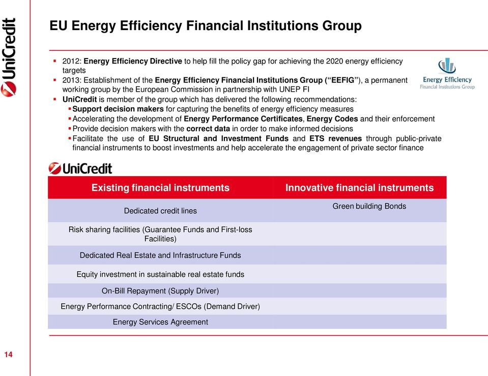recommendations: Support decision makers for capturing the benefits of energy efficiency measures Accelerating the development of Energy Performance Certificates, Energy Codes and their enforcement