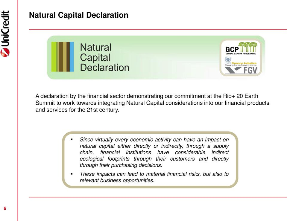 Since virtually every economic activity can have an impact on natural capital either directly or indirectly, through a supply chain, financial institutions