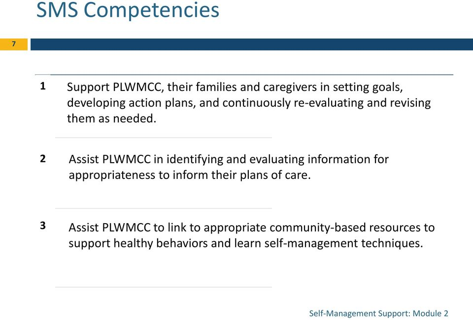 2 Assist PLWMCC in identifying and evaluating information for appropriateness to inform their plans of care.