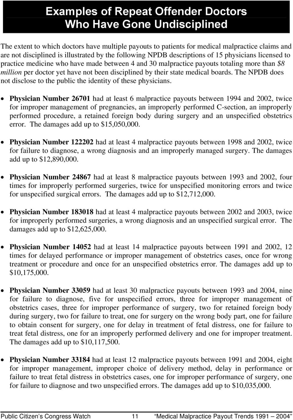 disciplined by their state medical boards. The NPDB does not disclose to the public the identity of these physicians.