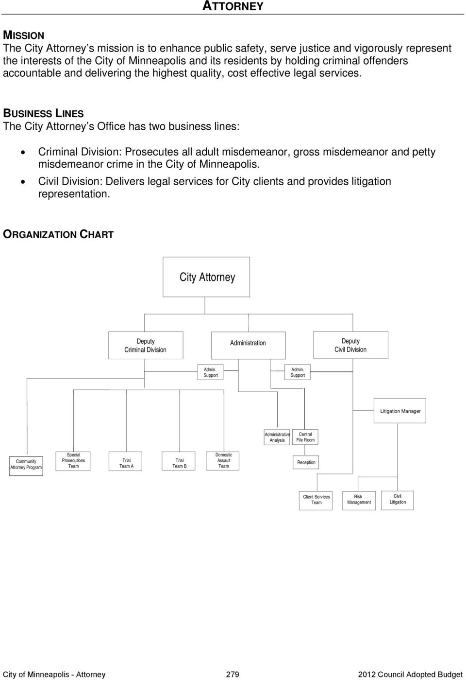 BUSINESS LINES The City Attorney s Office has two business lines: Criminal Division: Prosecutes all adult misdemeanor, gross misdemeanor and petty misdemeanor crime in the City of Minneapolis.