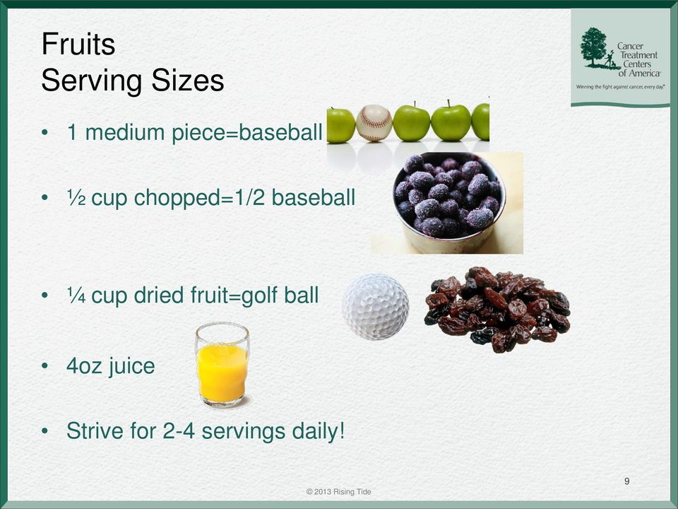 baseball ¼ cup dried fruit=golf