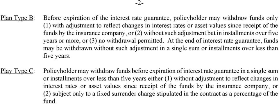 At the end of interest rate guarantee, funds may be withdrawn without such adjustment in a single sum or installments over less than five years.