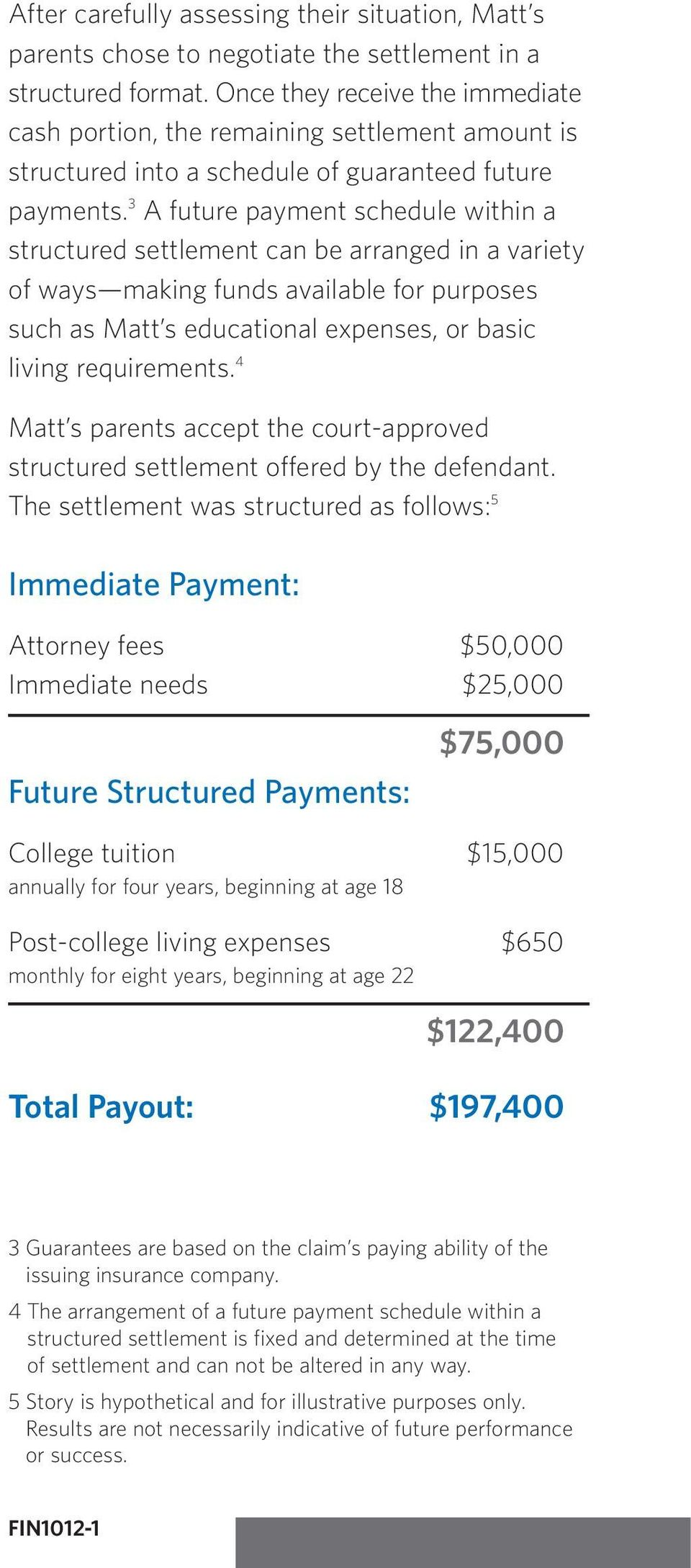 3 A future payment schedule within a structured settlement can be arranged in a variety of ways making funds available for purposes such as Matt s educational expenses, or basic living requirements.