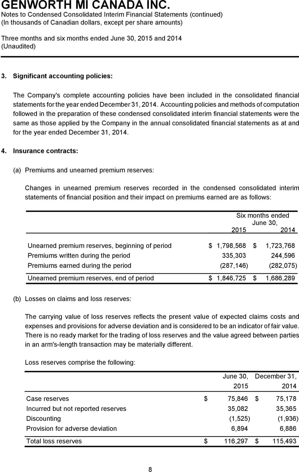 consolidated financial statements as at and for the year ended December 31, 2014. 4.