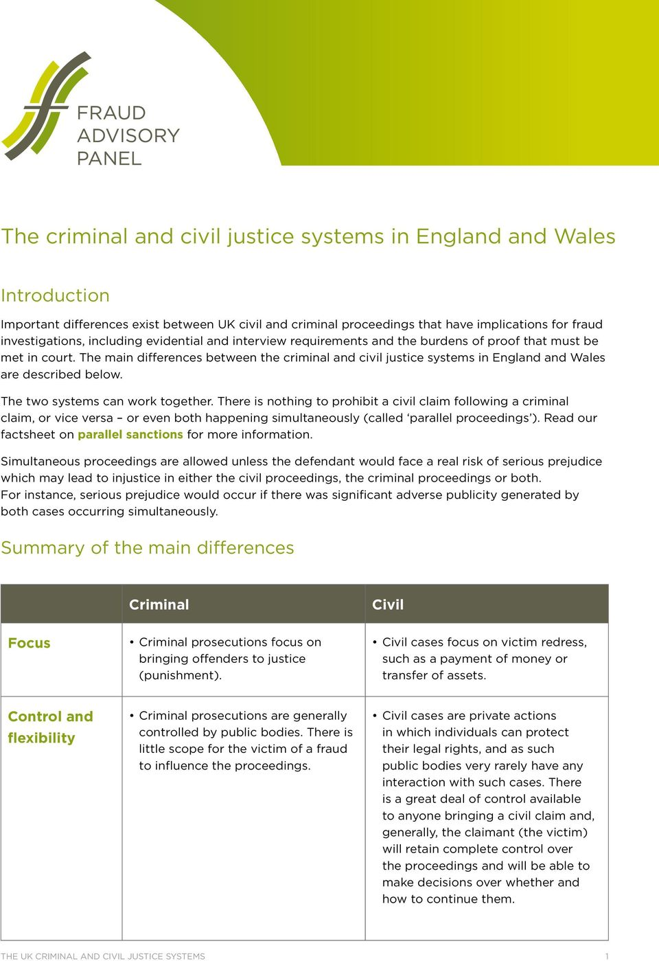 The main differences between the criminal and civil justice systems in England and Wales are described below. The two systems can work together.