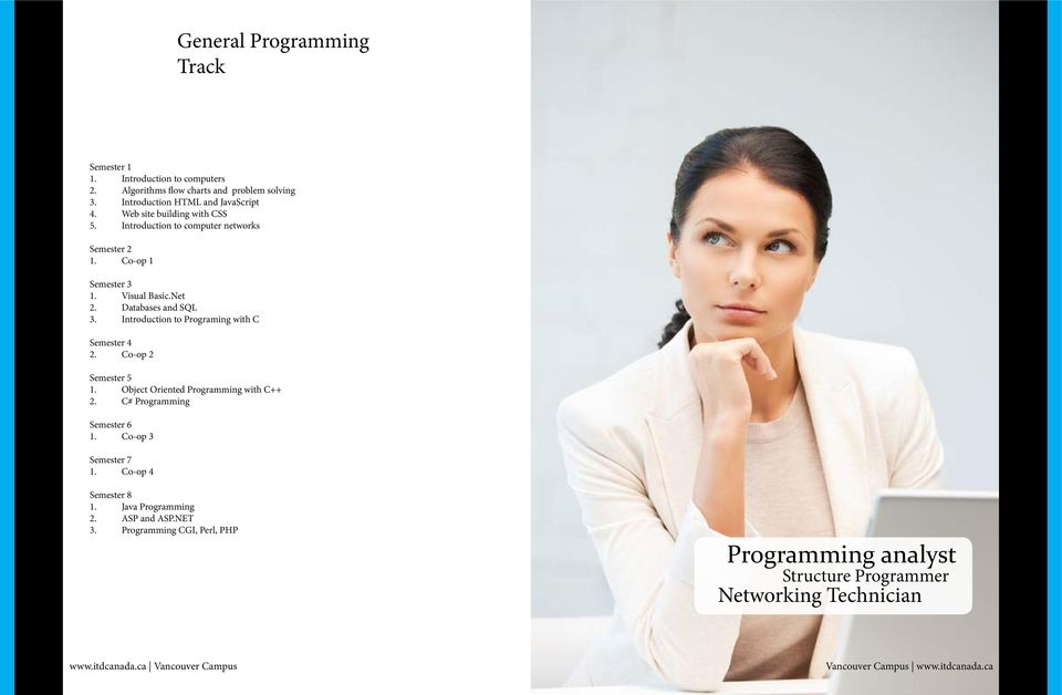 Introduction to Programing with C 2. Co-op 2 Semester 5 1. Object Oriented Programming with C++ 2. C# Programming Semester 6 1.