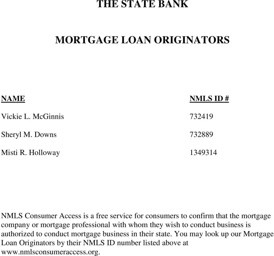mortgage professional with whom they wish to conduct business is authorized to conduct mortgage business in their