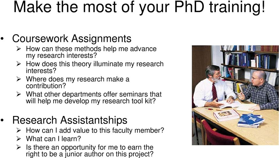 What other departments offer seminars that will help me develop my research tool kit?