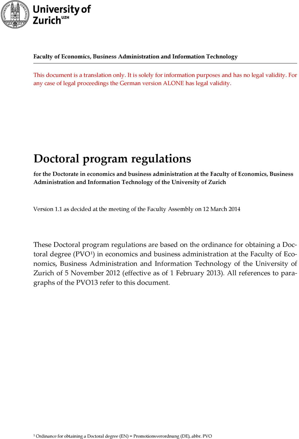Doctoral program regulations for the Doctorate in economics and business administration at the Faculty of Economics, Business Administration and Information Technology of the University of Zurich