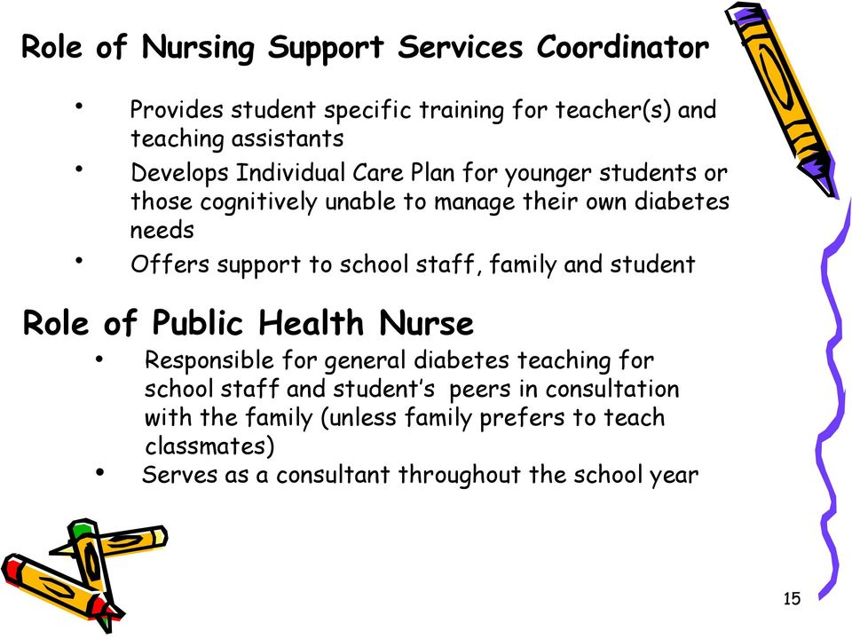 staff, family and student Role of Public Health Nurse Responsible for general diabetes teaching for school staff and student s