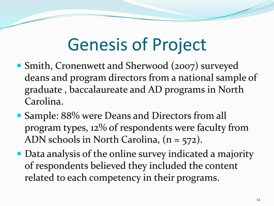 Sample: 88% were Deans and Directors from all program types, 12% of respondents were faculty from ADN schools in North