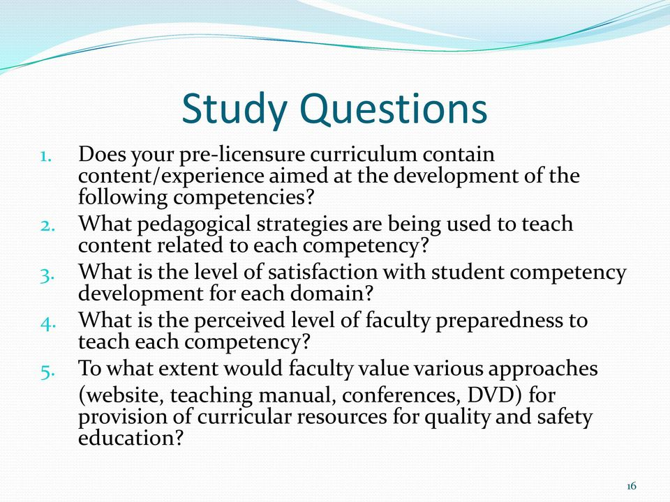 What is the level of satisfaction with student competency development for each domain? 4.