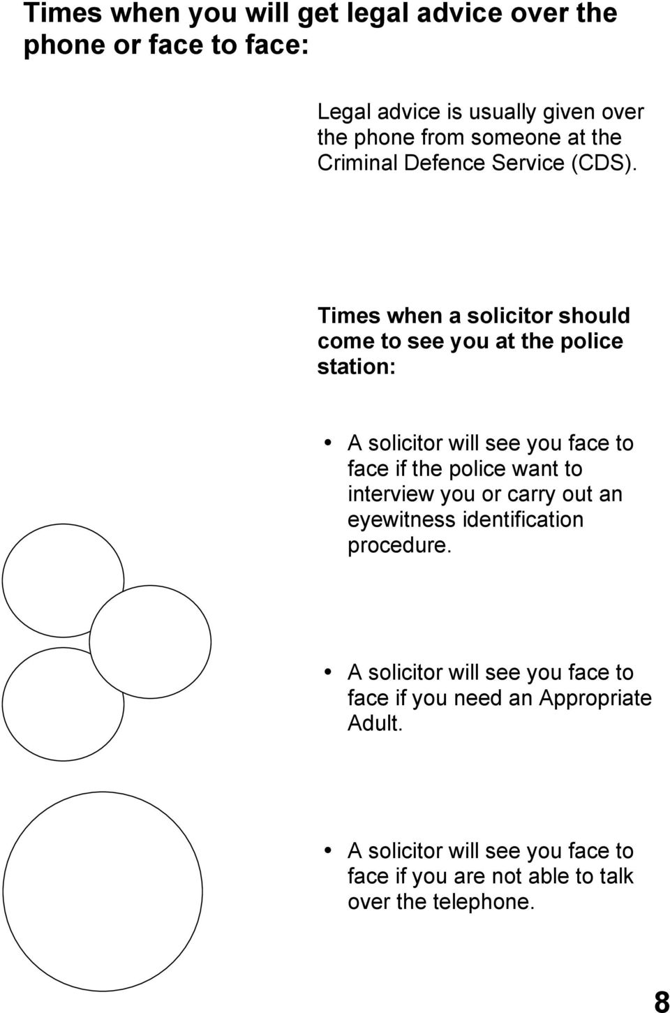 Times when a solicitor should come to see you at the police station: A solicitor will see you face to face if the police want to
