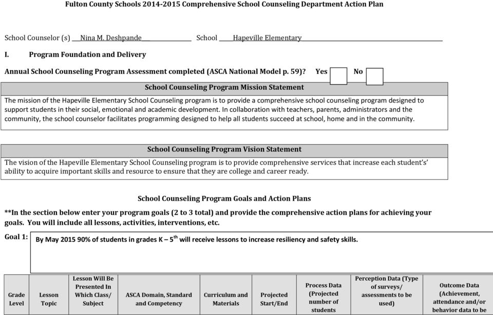 Yes No School Counseling Program Mission Statement The mission of the Hapeville Elementary School Counseling program is to provide a comprehensive school counseling program designed to support