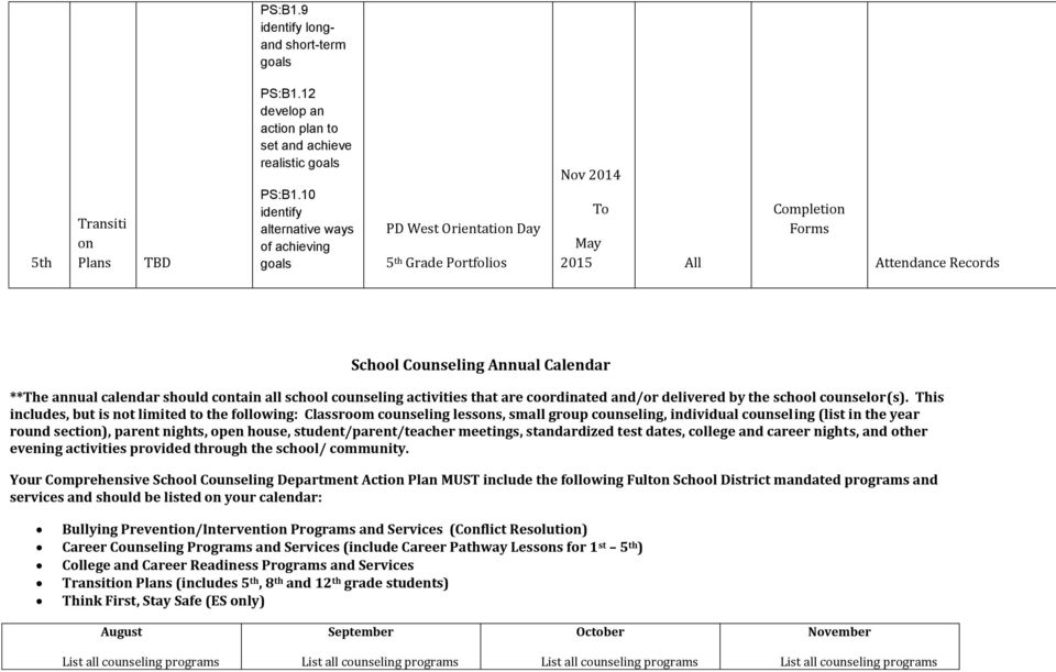 contain all school counseling activities that are coordinated and/or delivered by the school counselor(s).