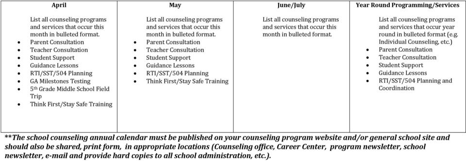 ) and Coordination **The school counseling annual calendar must be published on your counseling program website and/or general school