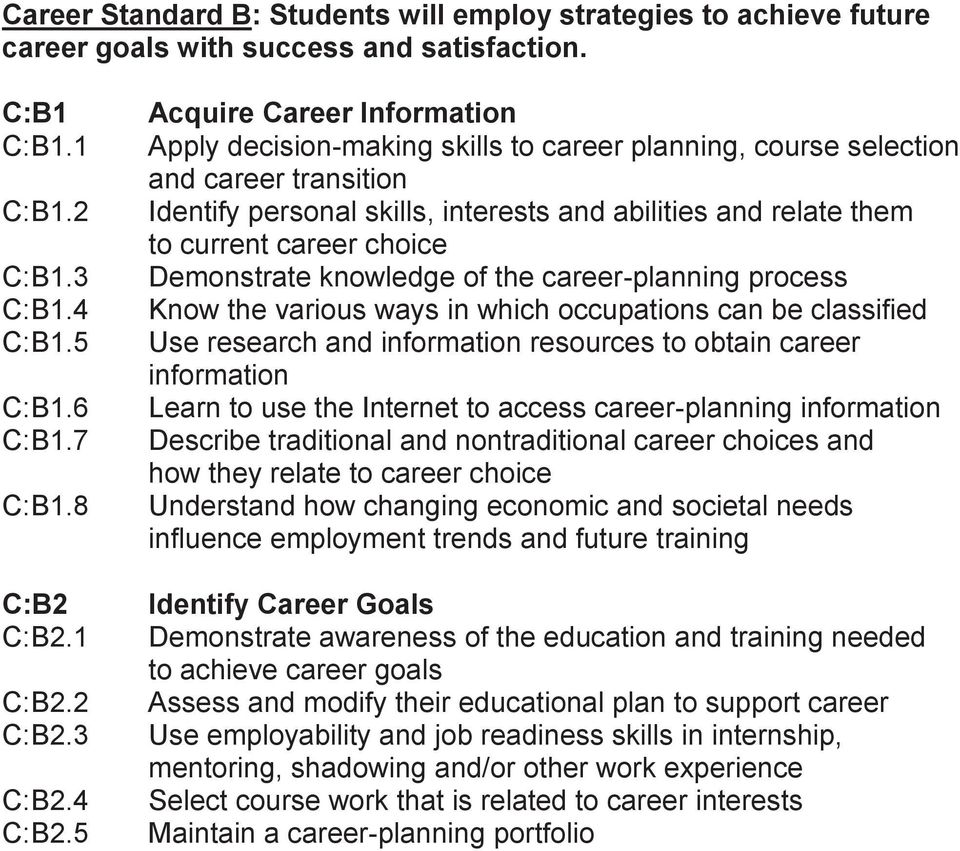 5 Acquire Career Information Apply decision-making skills to career planning, course selection and career transition Identify personal skills, interests and abilities and relate them to current